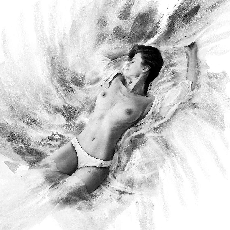 Bild mit nude, Akt, beauty&portrait, Schönheit, Wellness, schwarz weiß, make up, beauty, Sexy, Model, SW, style, ästhetik, fotoshooting