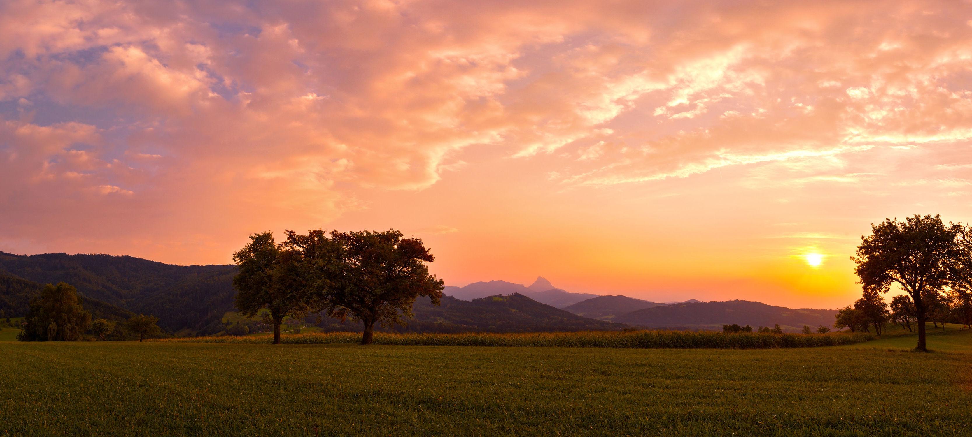 Bild mit Natur, Landschaften, Bäume, Sonnenuntergang, Sonnenaufgang, Österreich, Baum, Landschaft, Nature, Wiese, Wiesen, Weide, Weiden