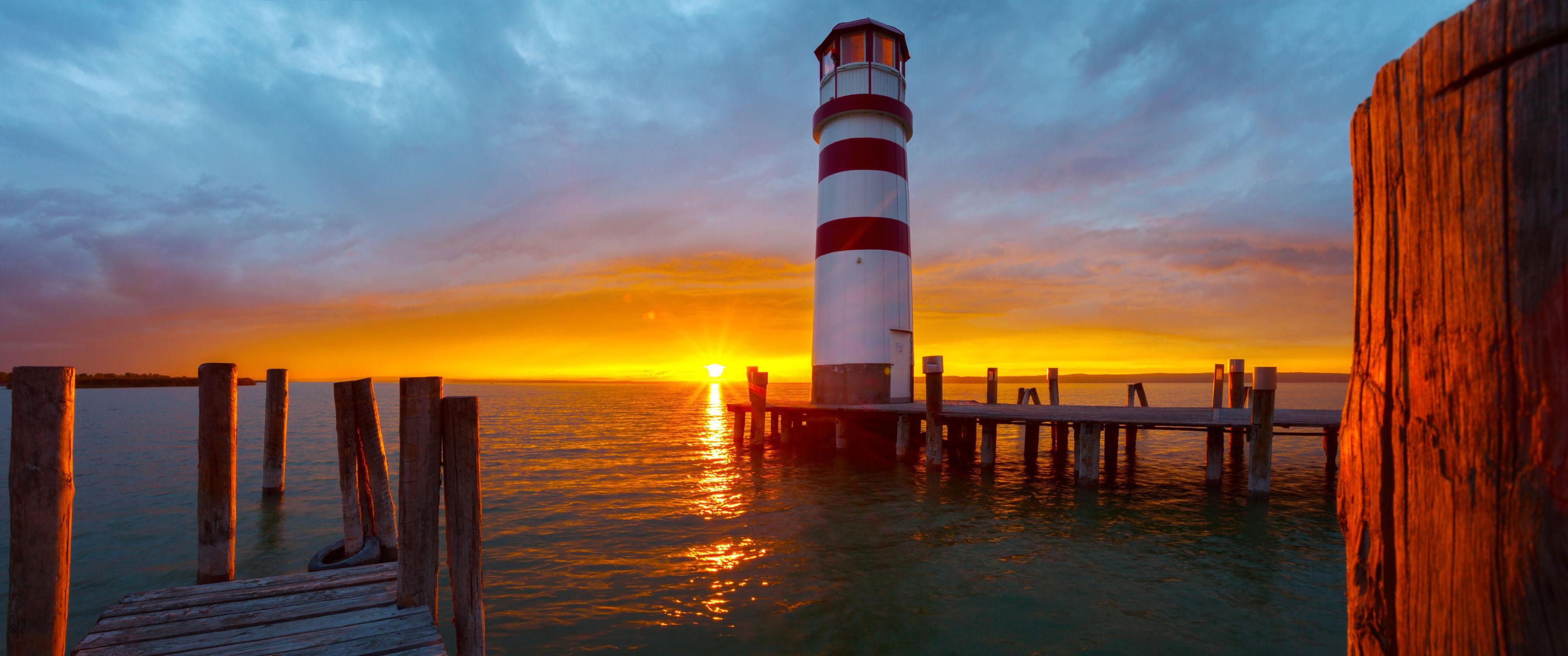 Bild mit Natur, Wasser, Gewässer, Sonnenuntergang, Sonnenaufgang, Steg, Am Meer, Leuchtturm, ozean