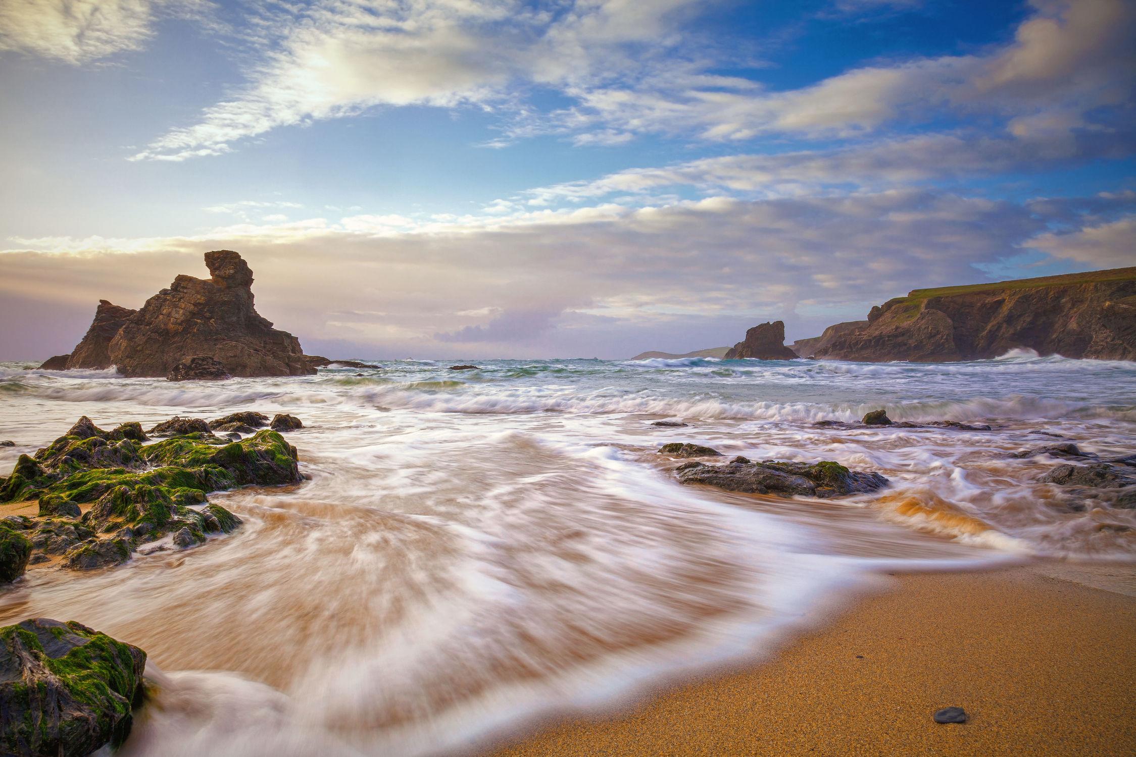 Bild mit Natur, Natur, Wasser, Gewässer, Felsen, Wellen, Sonnenuntergang, Sonnenaufgang, Am Meer, ozean