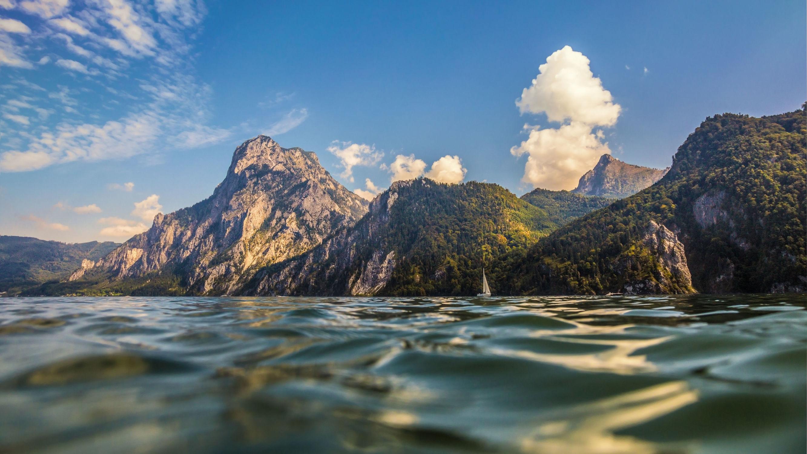 Bild mit Natur, Wasser, Berge, Gewässer, Wellen, Sonnenuntergang, Sonnenaufgang, See, berg, Gebirge
