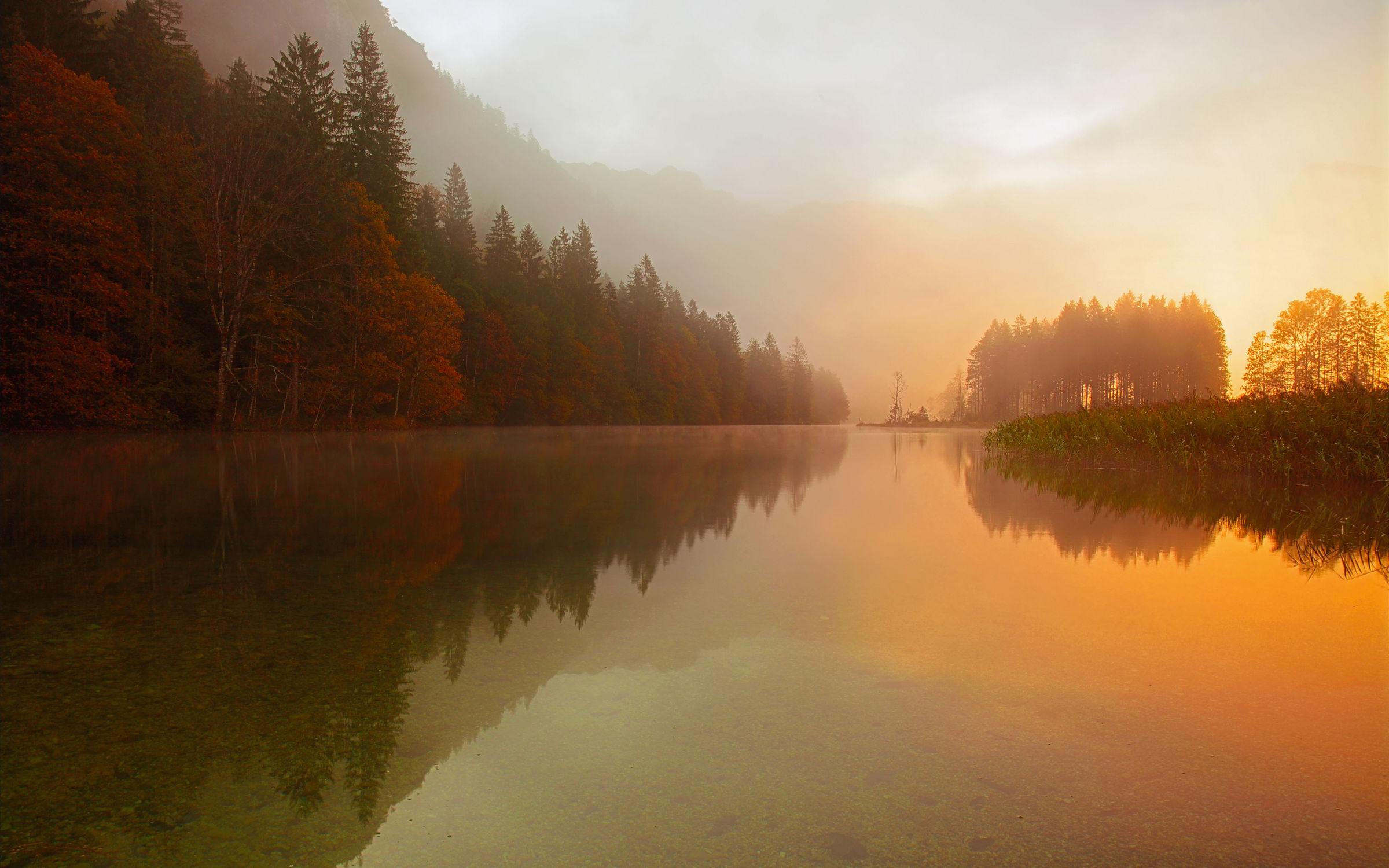 Bild mit Natur, Wasser, Gewässer, Herbst, Sonnenuntergang, Sonnenaufgang, Nebel, Wald, See