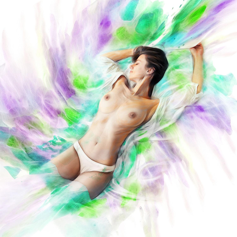 Bild mit nude, Akt, Frau, Aktmodel, Fotomodel, Aktbild, Aktaufnahme, Aktfoto, Aktfotografie, Sexy, Aquarell, wasserfarben