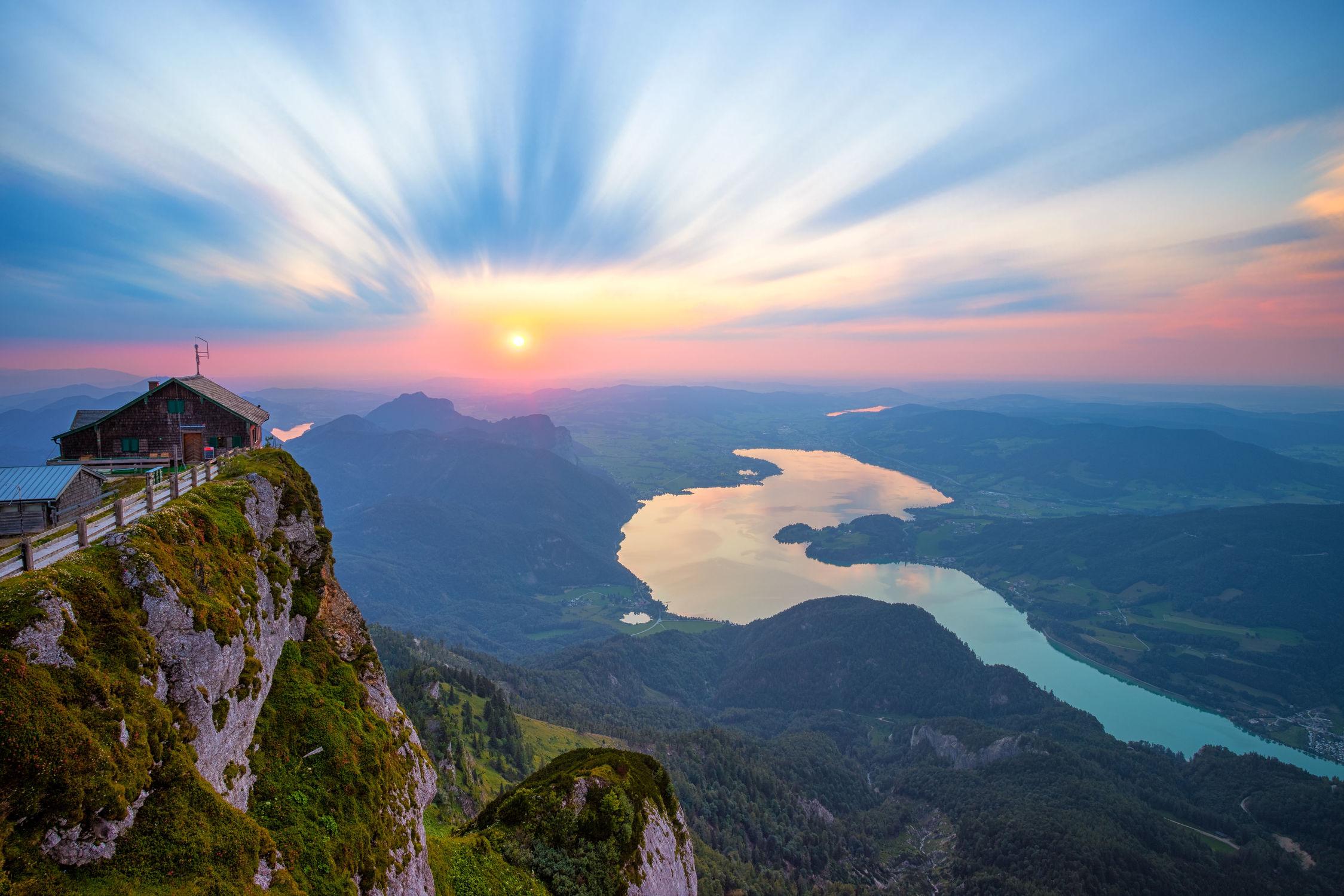 Bild mit Natur, Landschaften, Berge, Wälder, Sonnenuntergang, Sonnenaufgang, Sonne, Landschaft, Felder, Fluss