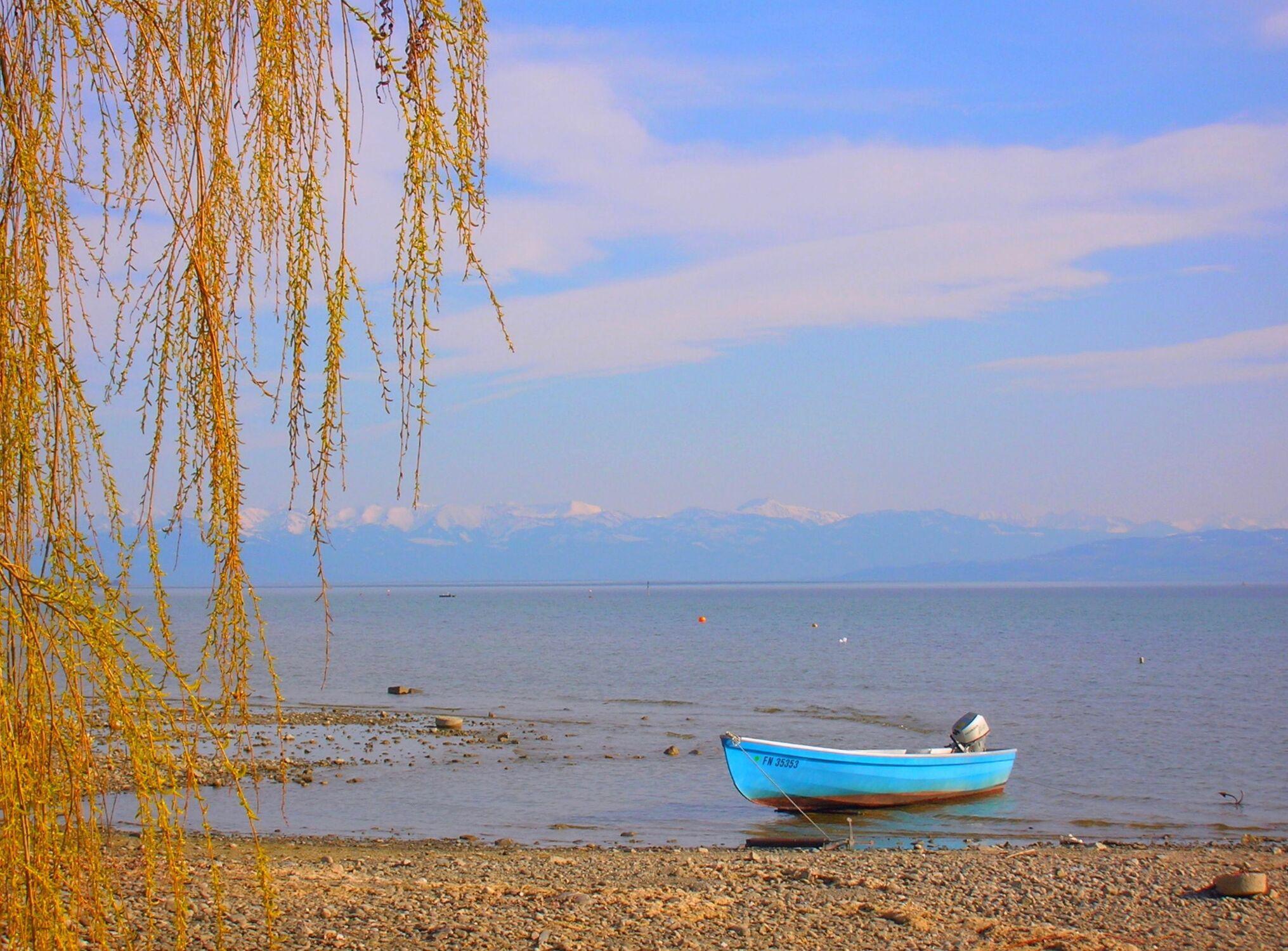 Bild mit Strand, Boote
