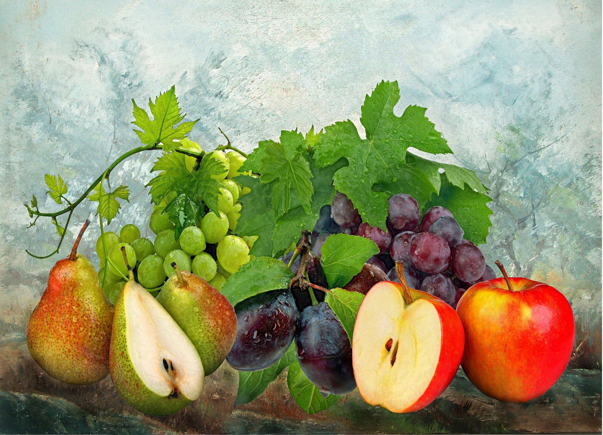 Bild mit Früchte, Obst, Birnen, Küchenbild, Weintrauben, Apfel, Apfel, Küchenbilder, pflaumen