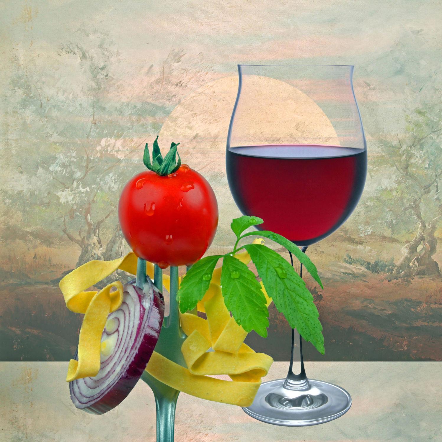Bild mit Himmel, Bäume, Wolken, Sonnenuntergang, Sonne, Nudeln, Pasta, Tomaten, Toskana, Wein, Zwiebeln, rotwein, rotweinglas