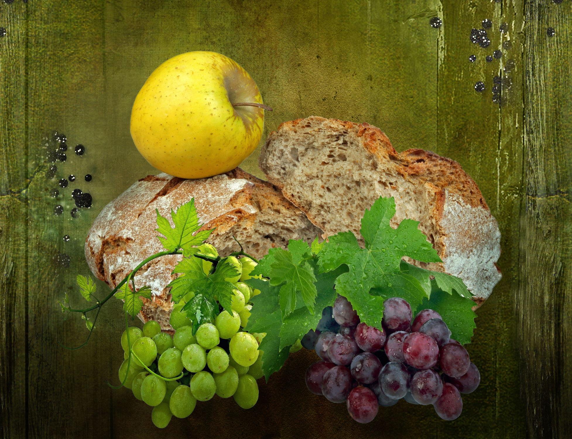 Bild mit Früchte, Essen, Frucht, Obst, Nahrung, Weintrauben, Apfel, Apfel, Textur, Ernährung, brot
