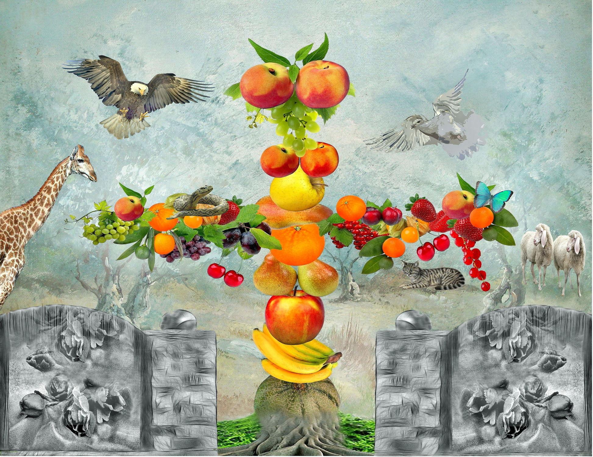 Bild mit Tiere, Früchte, Pfirsiche, Pfirsiche, Bananen, Obst, Erdbeeren, Birnen, Paradies, Abstrakt, Weintrauben, Weintrauben, Apfel, Katze, Stilleben, Fantasie, Schmetterling, Schafe, garten, Physalis, Johannisbeeren, Kirschen, Schlange, Adler, taube, melonen