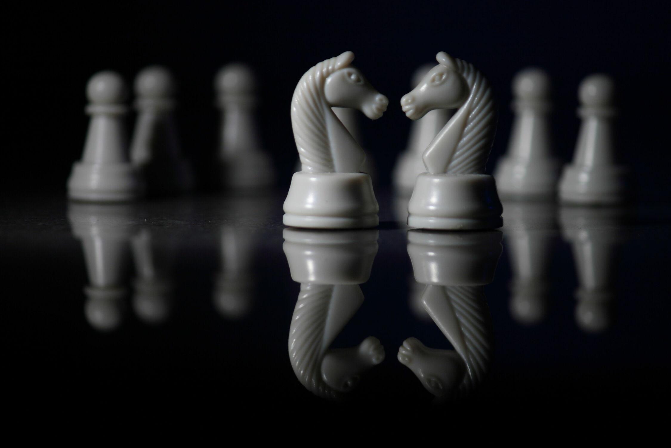 Bild mit Spiel, Experimente, schwarz weiß, SW, Schach