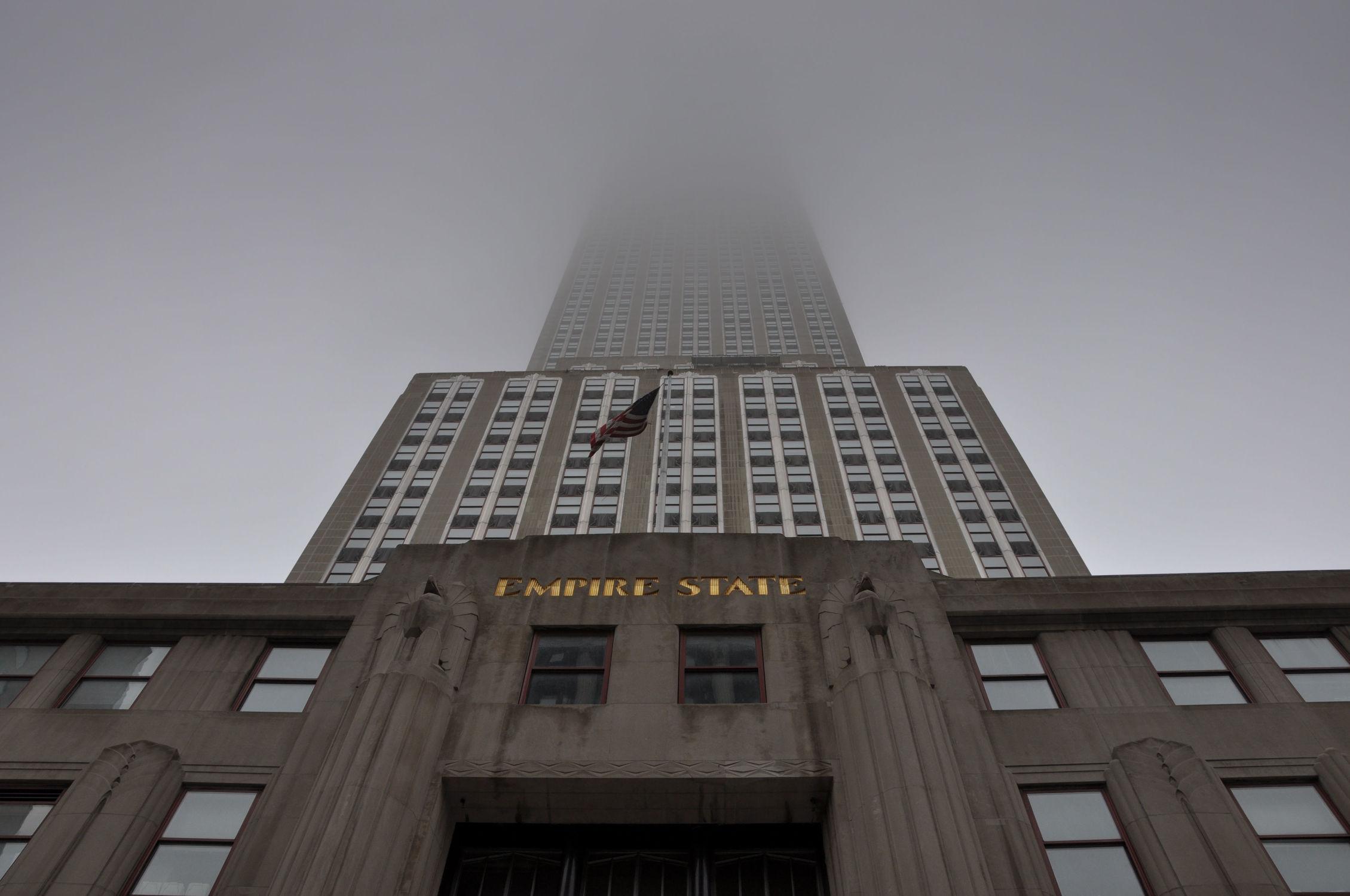 Bild mit Landschaften, Gebäude, Städte, Häuser, Nebel, Haus, Landschaft, Stadt, landscape, City, USA, empire state