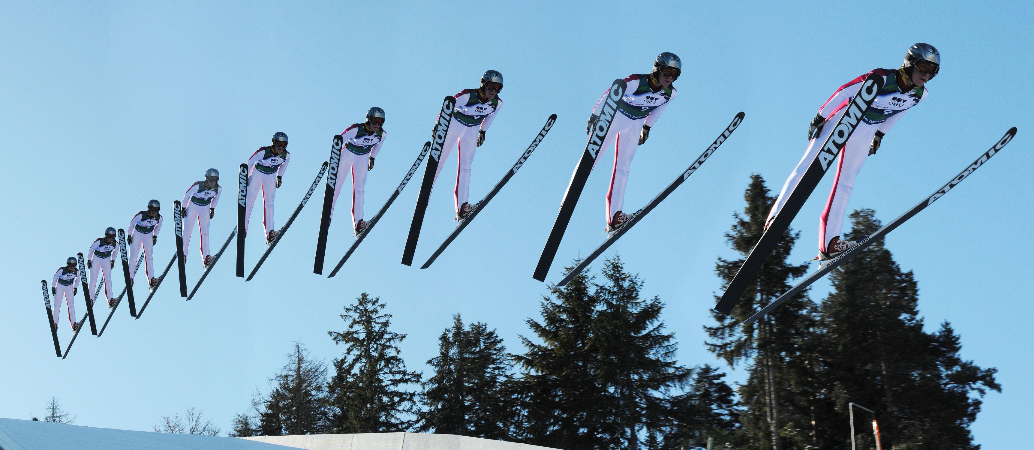 Bild mit Winter, Sport, Sportausrüstungen, Ski, Wintersport, sprung, serie, skier, skispringer