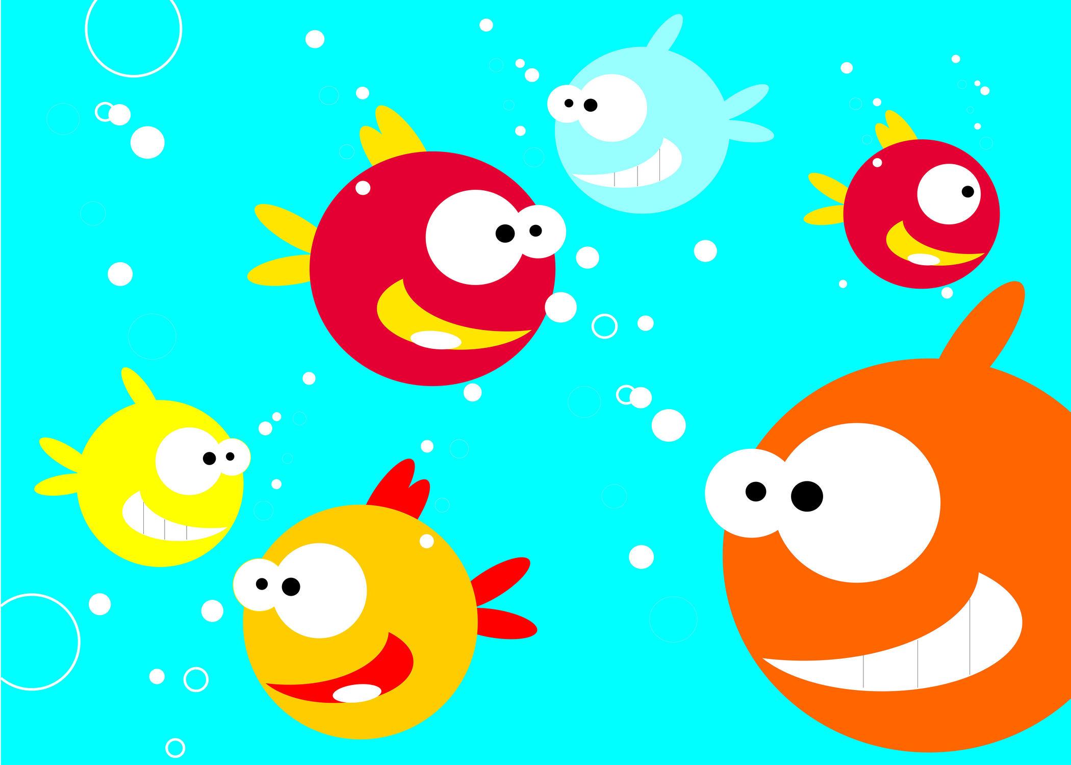 Bild mit Fische, Unterwasser, Kinderbild, Kinderbilder, Kinderzimmer, Kinder, Fisch, Kugelfisch, Unterwassertiere, Unterwasserwelt