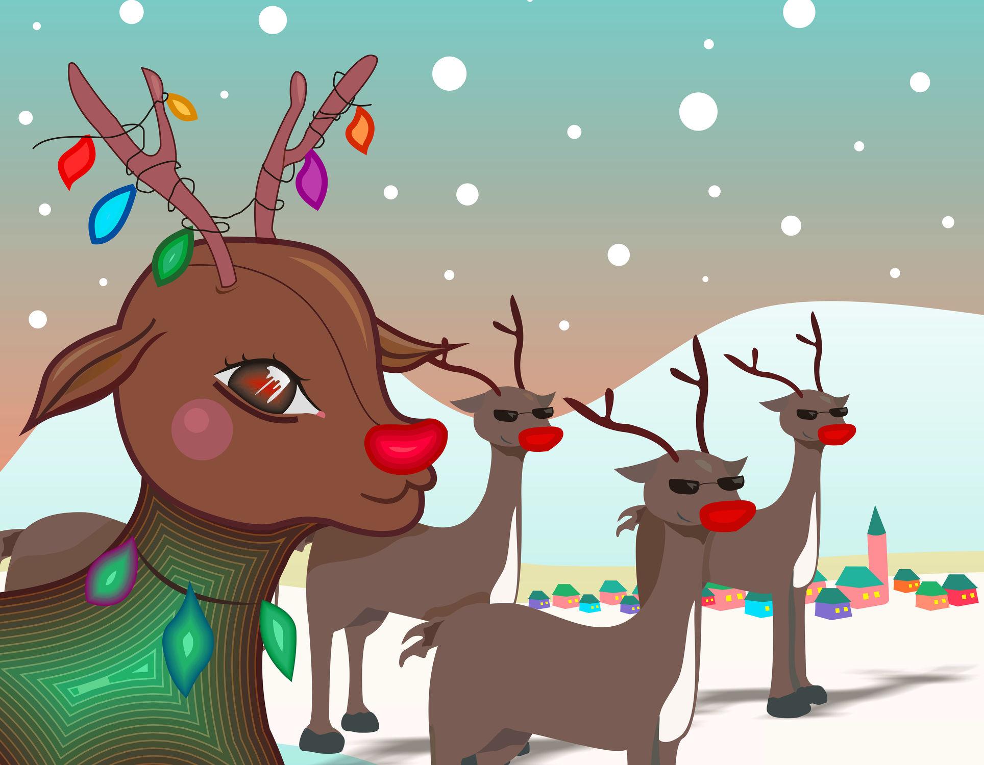 Bild mit Tiere, Winter, Schnee, Tier, Kinderbild, Kinderbilder, Kinderzimmer, Kinderwelt, Kinder, Kind, Weihnachten, xmas, Christmas, Renntier, Renntiere