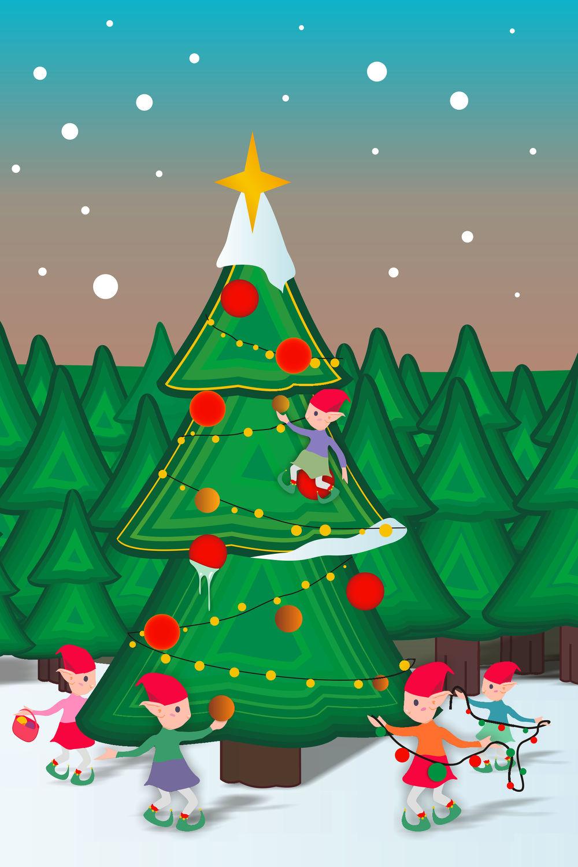 Bild mit Winter, Schnee, Tanne, Kinderbild, Kinderbilder, Kinderzimmer, Kinderwelt, Kinder, Kind, Weihnachten, xmas, Christmas, Weihnachtsbaum, Weihnachtsmann, Elfen, Elfe, Wichtel, Weihnachtswichtel