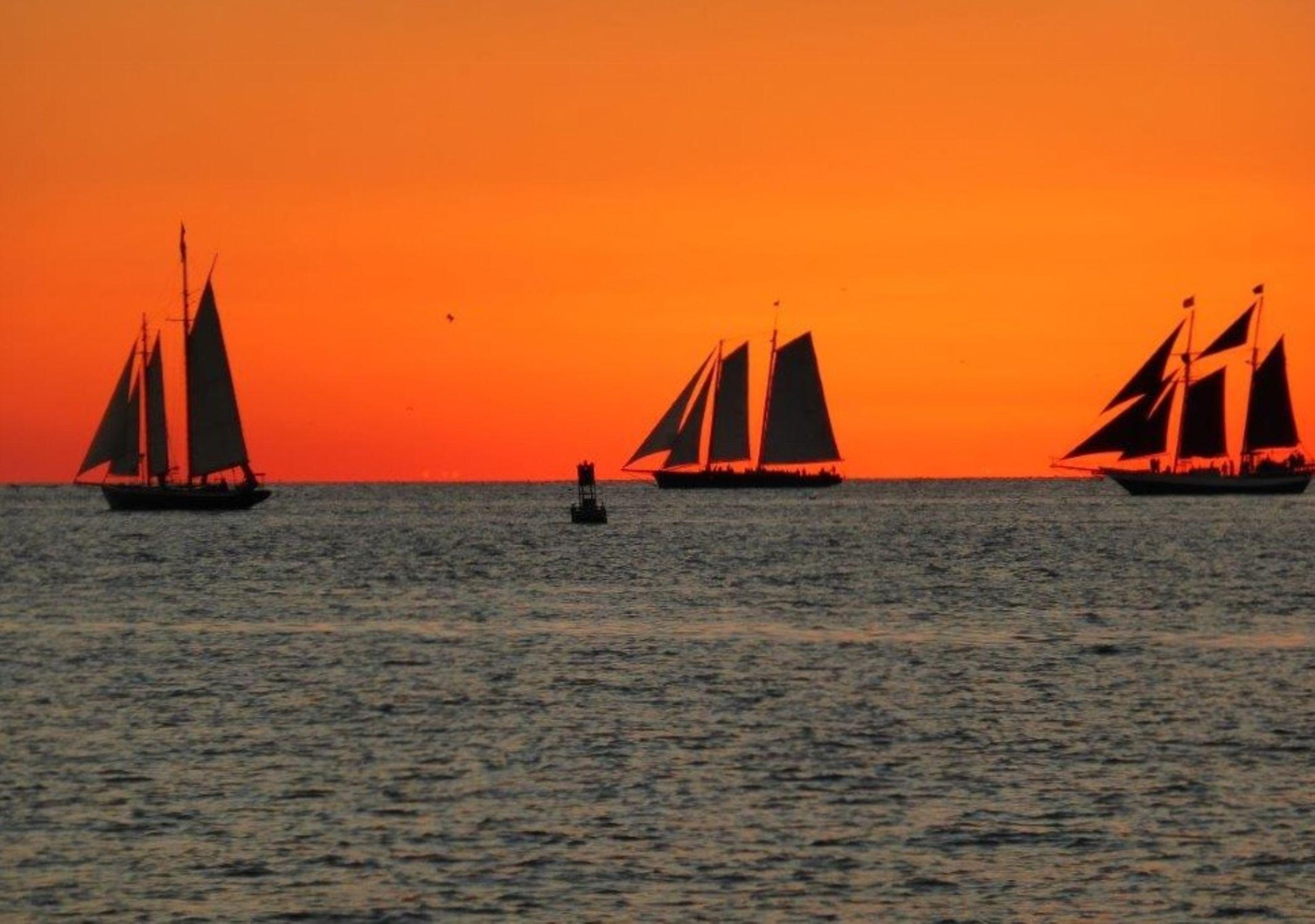 Bild mit Natur, Sonnenuntergang, Segelboote, Sonnenaufgang, Meerblick, Segelboot, boot, Meer, Boote, Landschaft, USA