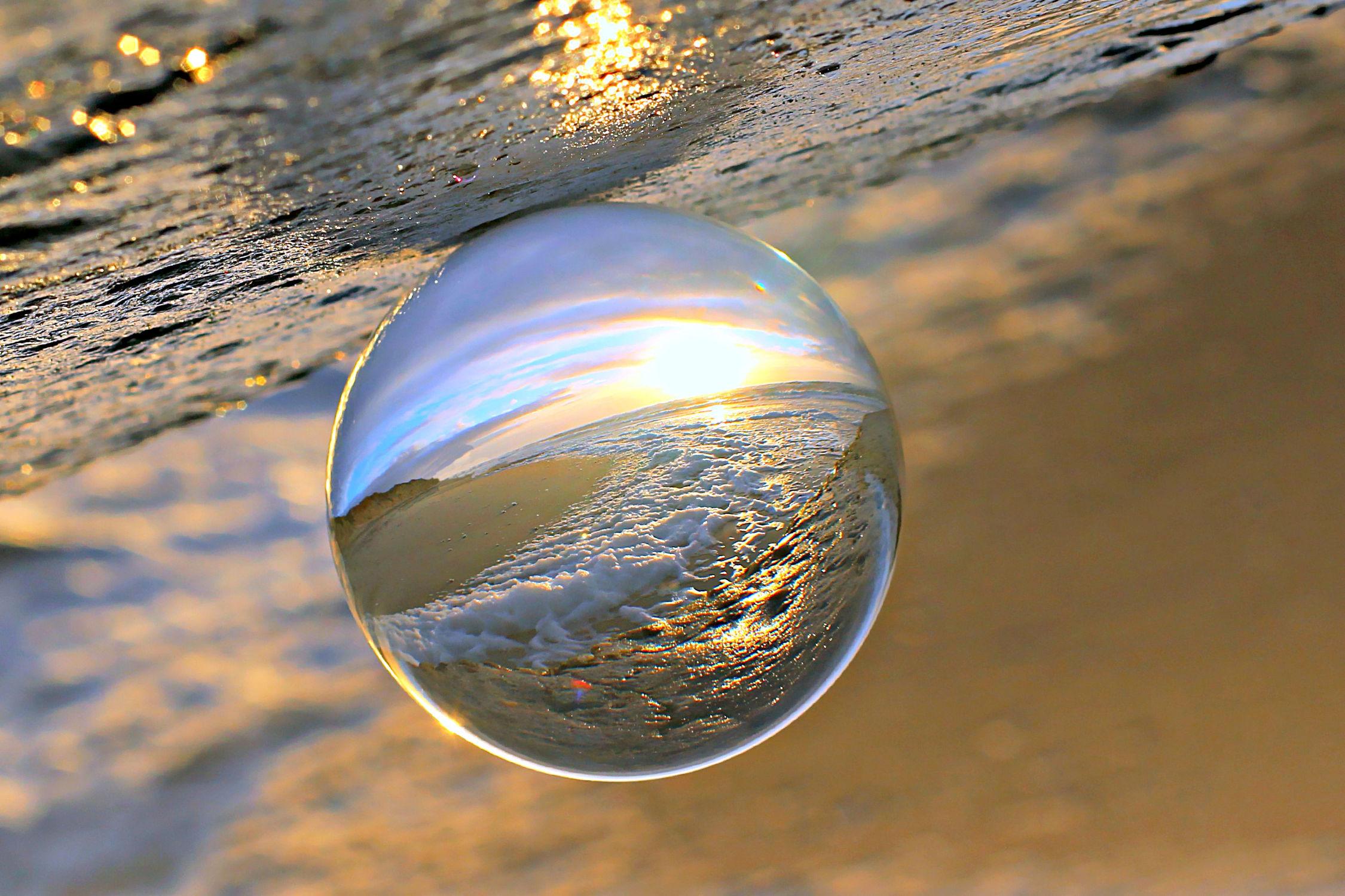 Bild mit Glas, romantik, Licht, Spiegelung, Sonnenstrahlen, Traum, Strahlen, Kugel, glaskugel, träumerisch