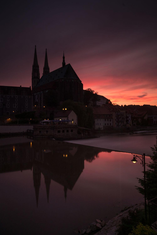 Bild mit Sonnenuntergang, Stadt, Kirche, Görlitz, Peterskirche, City, Skyline, Fluss