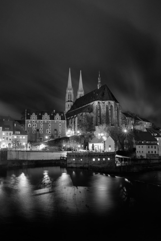 Bild mit Architektur, Kirchen, Stadt, Kirche, Görlitz, Görlitz Blick, City, schwarz weiß, Skyline