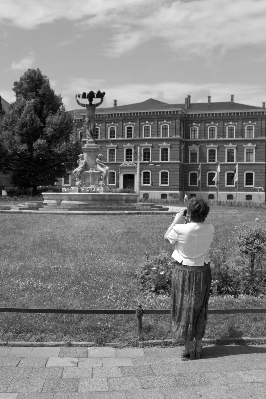 Bild mit Görlitz, Architektur in Schwarzweiß, schwarz weiß, Springbrunnen, Postplatz