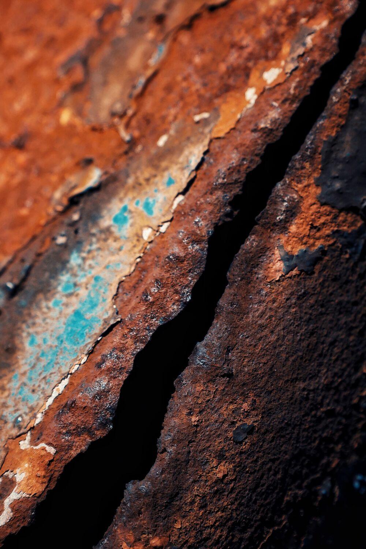 Bild mit Rot, Blau, Blau, Braun, Rost, Industrieanlagen, loch, rostig, riss, altes Metall