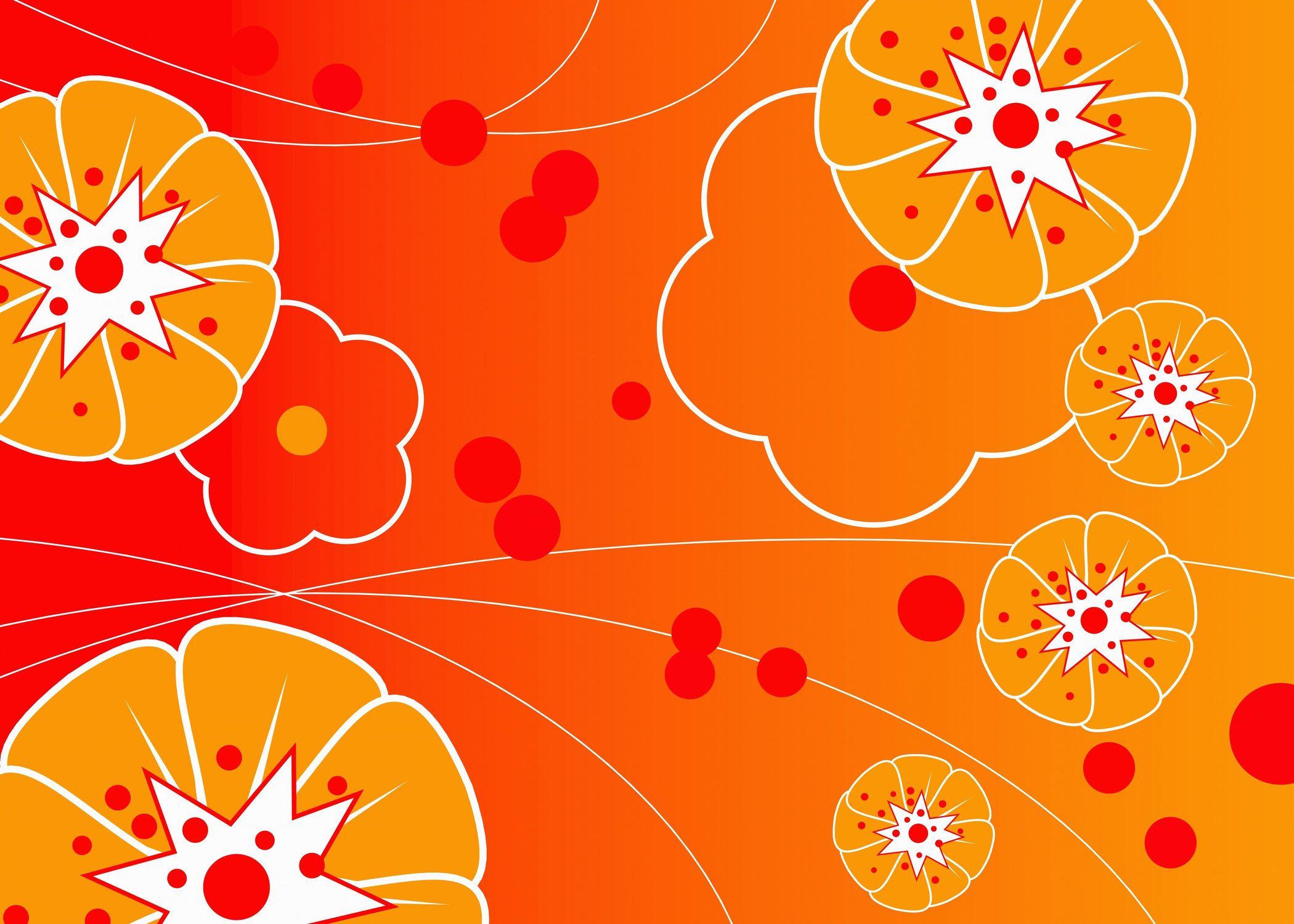 Bild mit Farben, Orange, Gelb, Illustration, wandtapete, fototapete, Blumenmotiv