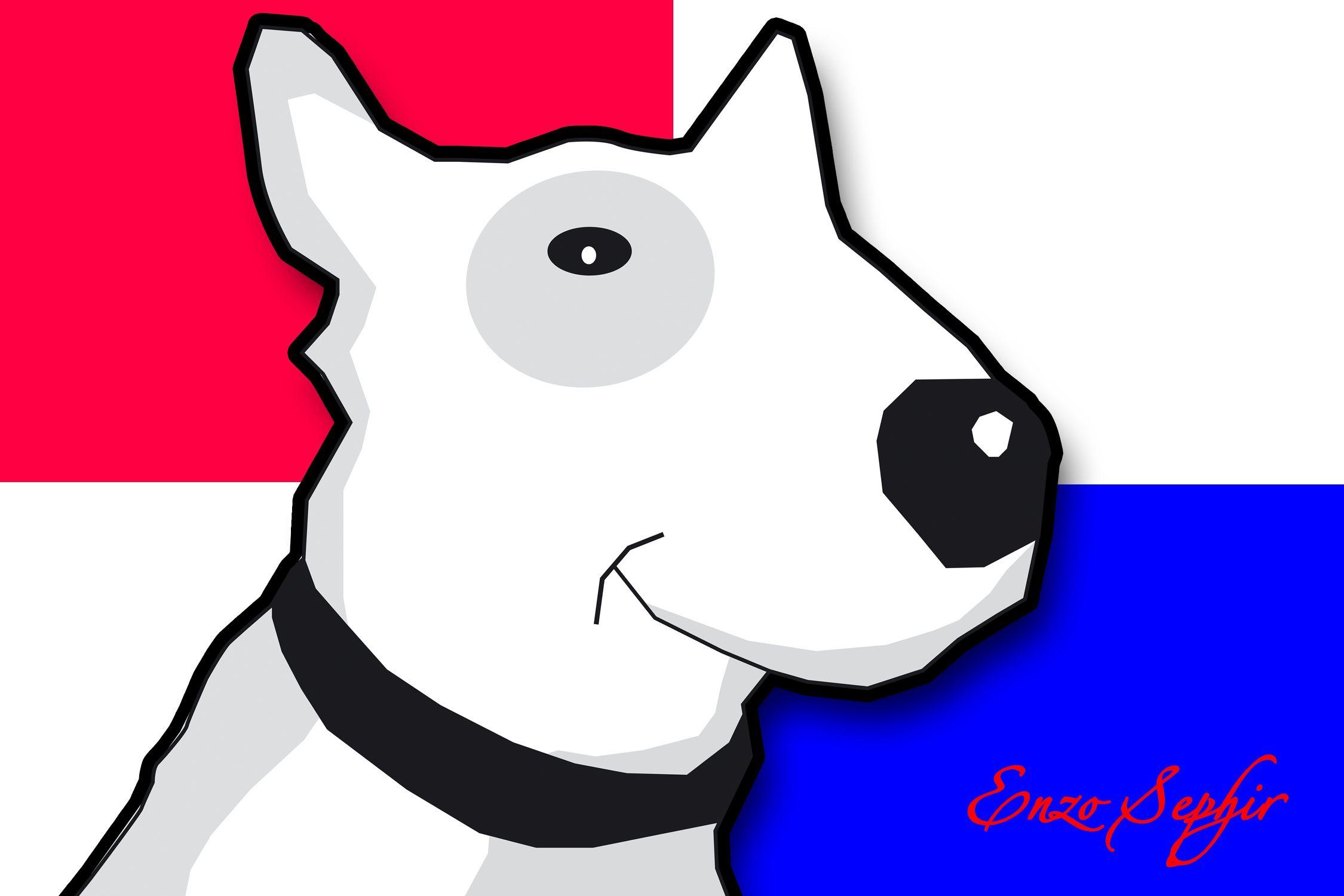 Bild mit Zeichnung, Illustration, Bullterrier