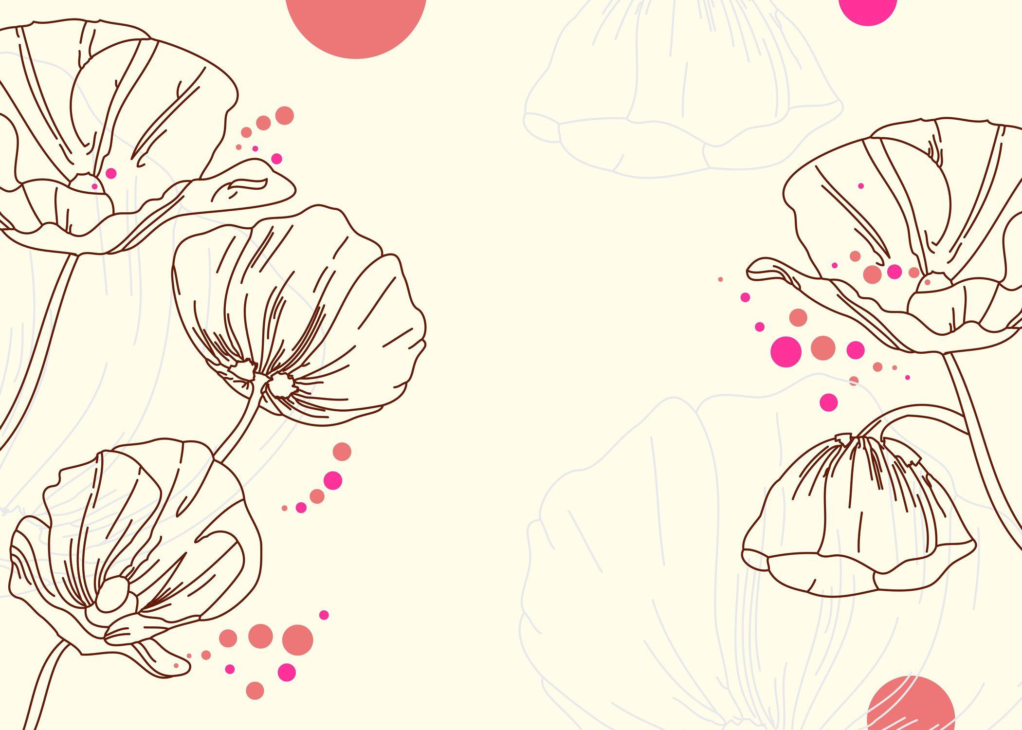 Bild mit Zeichnung, Illustration, Zeichnung von Mohnblumen, Illustration Mohnblumen, Tapete, fototapete, wand