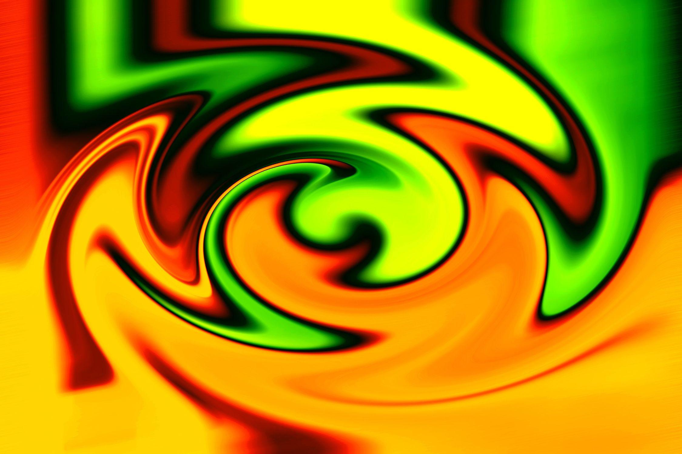 Bild mit Farben, Orange, Gelb, Grün, Spiralen, Abstrakt, Abstrakte Kunst, Abstrakte Malerei