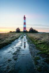 Bild mit Wolken, Nordsee, Spiegelung, Küste, Sonnenuntergang/Sonnenaufgang, Leuchtturm, Leuchtturm_Westerhever