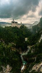 Bild mit Schloss, Panorama, Landschaft, Fluss, Bayern, Schloss Neuschwanstein
