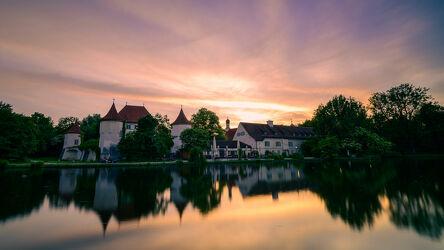 Bild mit Sonnenuntergang, Langzeitbelichtung, münchen, Blutenburg