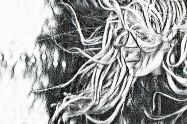 Bild mit Abstrakte Kunst, schwarz & weiss, weiblich, Frauen, sinnlich, Comicart, Kreide