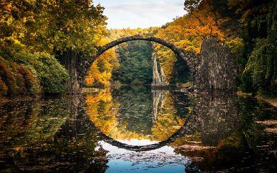 Bild mit Natur, Wasser, Gewässer, Wälder, Flüsse, Schlösser, Brücken, Schloss, Wald, Brücke, Park, Fluss, bridge, schlossgarten, Rakotz, Rhododendronpark Kromlau, Rhododendronpark, Kromlau, rakotz bridge