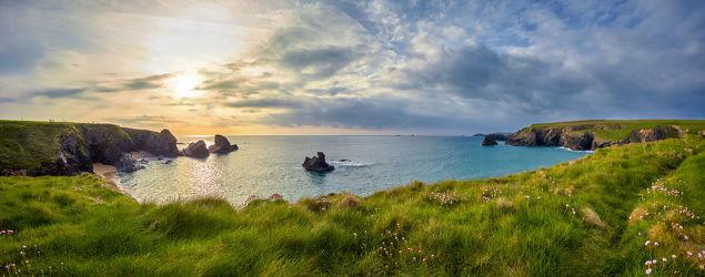 Bild mit Natur, Grün, England, Panorama, Meer, Gras, Küste, Klippen, ozean, Cornwall, porthcothan, weite