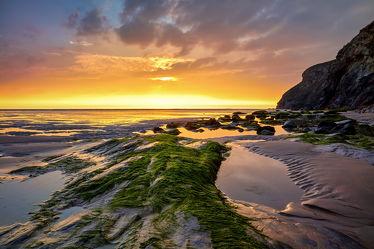 Bild mit Gelb, Landschaften, Felsen, Sand, Strand, England, Meer, Sonnenuntergänge, großbritannien, Algen, Cornwall, mawgan porth, Ebbe, Gezeiten