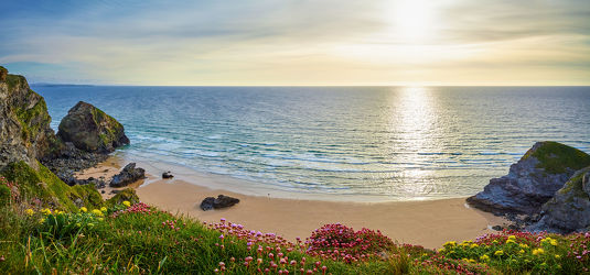 Bild mit Natur,Blumen,Felsen,Frühling,Sand,Sonne,Strand,England,Panorama,Meer,Landschaft,Küste,Blüten,Klippen,ozean,Cornwall
