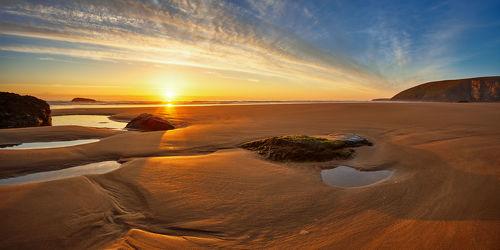 Bild mit Natur, Natur, Natur, Wasser, Gewässer, Sonnenuntergang, Sonnenaufgang, Sonne, Strand, Sandstrand, England, Am Meer, großbritannien, ozean, Cornwall, mawgan porth, Sand und Meer