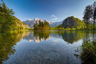 Bild mit Natur, Wasser, Berge, Urlaub, Österreich, Wald, Landschaft, Bergsee, See, Spiegelung, Reise, Wandern, Salzkammergut, Almtal, Almsee