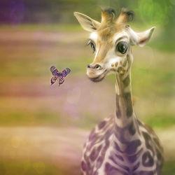 Bild mit Schmetterlinge,Giraffe,Für Kinder,Kunst fürs Kinderzimmer,Freunde,niedlich,niedlich