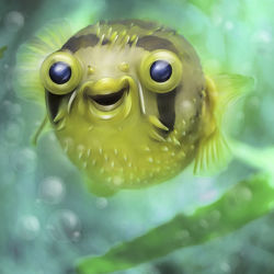 Bild mit Fische, Unterwasser, Kinderbilder, Kugelfisch, Unterwassertiere, Unterwasserwelt, Kunst fürs Kinderzimmer, lustig, Zeichung, Fugu