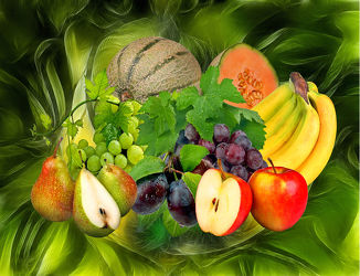 Bild mit Früchte, Essen, Bananen, Blätter, Frucht, Obst, Birnen, Wassertropfen, Weintrauben, Apfel, Food, Stilleben, Küche, Esszimmer, kochen, pflaumen, weinblätter, weinlaub, melonen