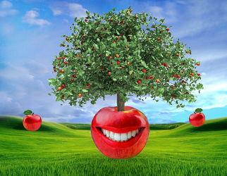 Bild mit Natur, Himmel, Wolkenhimmel, Apfelbaum, Wiese, Abstrakte Kunst, Apfel, Apfel, Abstraktes, lustig, Zähne, fröhlich, humor, Roter Apfel, lachender Apfel
