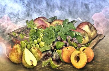 Bild mit Kunst, Pfirsiche, Obst, Birnen, Kernobst, Küchenbild, Weintrauben, Apfel, obst und früchte, und Küchenbilder, pflaumen, obstschale