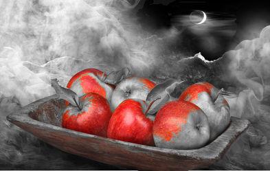 Bild mit Himmel, Wolken, Früchte, Nebel, Sonne, Frucht, Landschaft, Obst, Apfel, Apfel, Stilleben