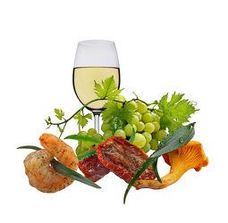 Bild mit Kräuter, Pasta, Tomate, Tomaten, Weintrauben, Fisch, Food, Pilze, Wein, gourmet, pfifferlinge, weißwein, weinblätter, weinlaub