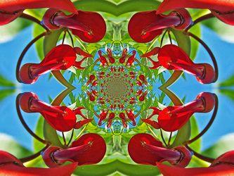 rot grünes geflecht