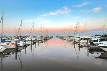 Yachthafen Grömitz im Sonnenuntergang