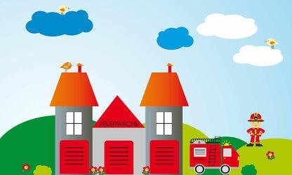 Bild mit Illustration, Kinderbild, Kinderbilder, Kinderzimmer, Kinderwelt, Babyzimmer, Feuerwehr, Feuerwache, Feuerwehrmann, Feuerwehrauto
