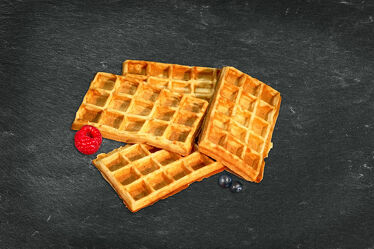 Bild mit Küchenbild, Himbeere, Küchenbilder, Küche, Blaubeere, Heidelbeere, Nachtisch, Dessert, Waffel, Waffeln